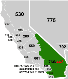 Map of 442 Area Code Covered Area - USA.com™
